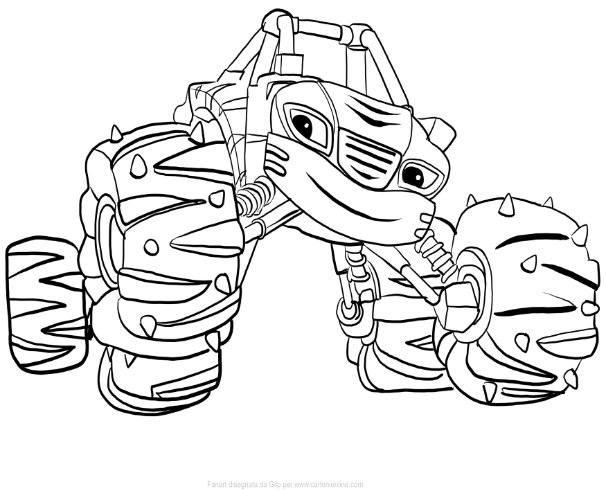 875x709 Stripes Of Blaze And The Monster Machines Coloring Pages