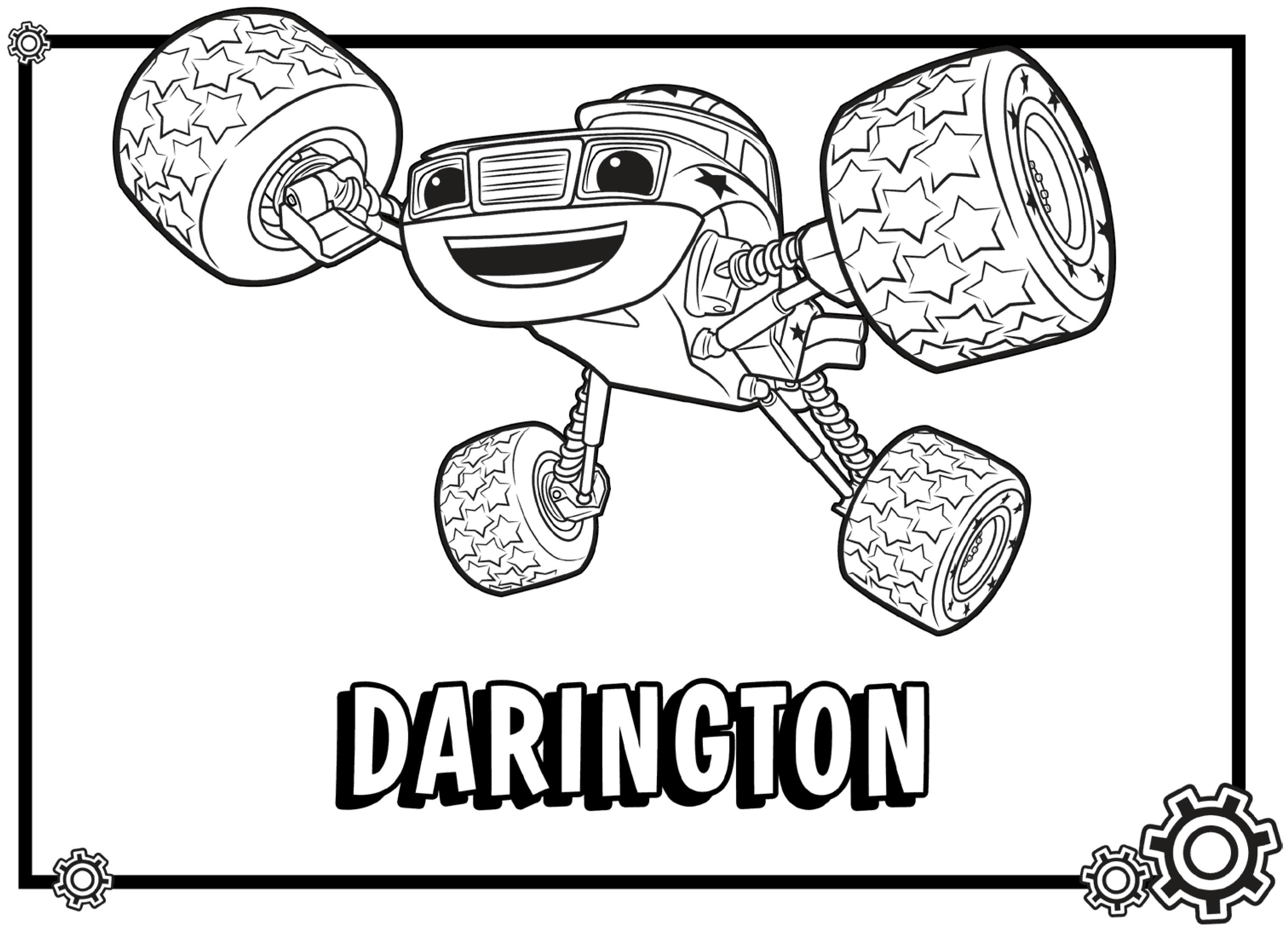 3032x2188 Blaze Monster Truck Cartoon Coloring Page For Kids Transportation