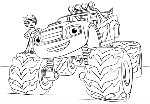 480x333 Blaze Monster Truck Coloring Page From Monster Truck Category