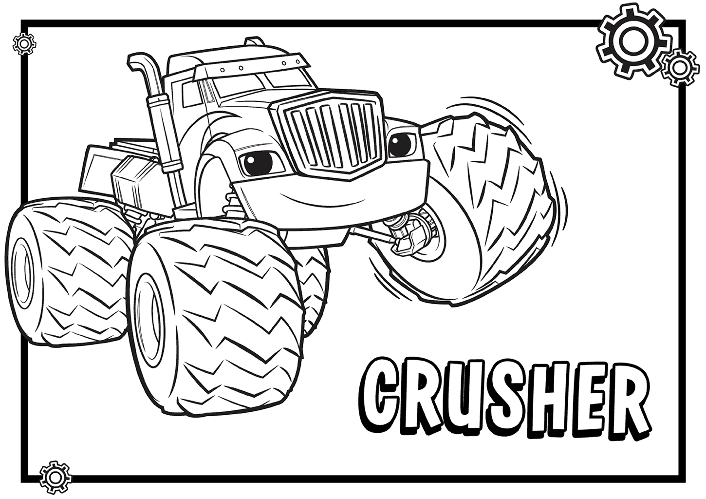 1450x1024 Crusher From Blaze And The Monster Machines Coloring Pages
