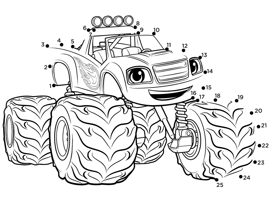 1024x768 Top Blaze And The Monster Machines Coloring Pages