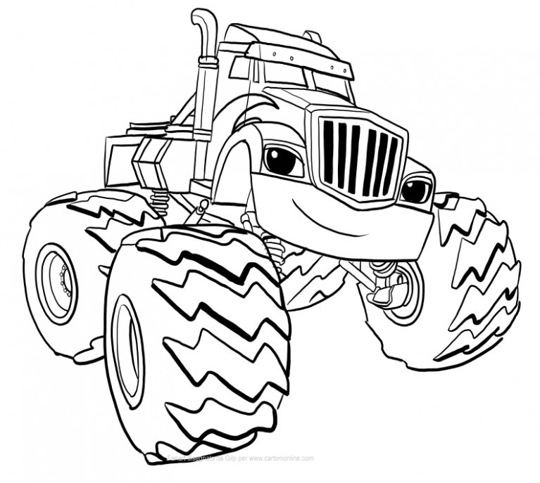 767x687 Crusher Of Blaze And The Monster Machines Coloring Pages Blaze