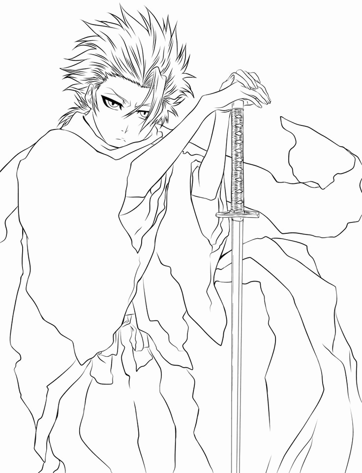 736x961 Bleach Ichigo Coloring Pages Stock Bleach Anime Girl Coloring