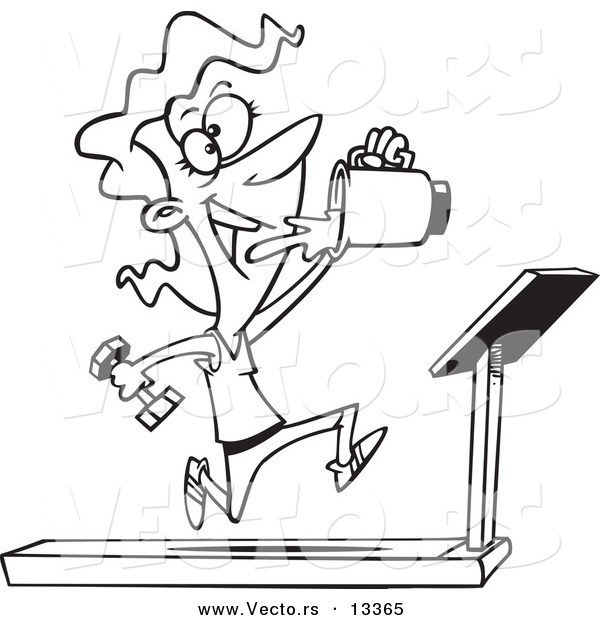 600x620 Vector Of A Cartoon Fit Woman Running On A Treadmill And Drinking