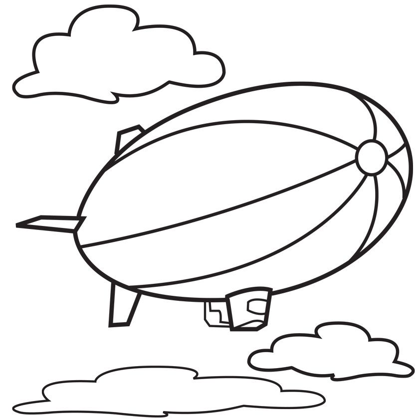 842x842 Hot Air Blimp Coloring Page, These Beach Scene Coloring Pages