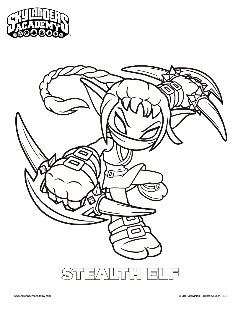 816x1056 Free Skylanders Stealth Elf Coloring Page