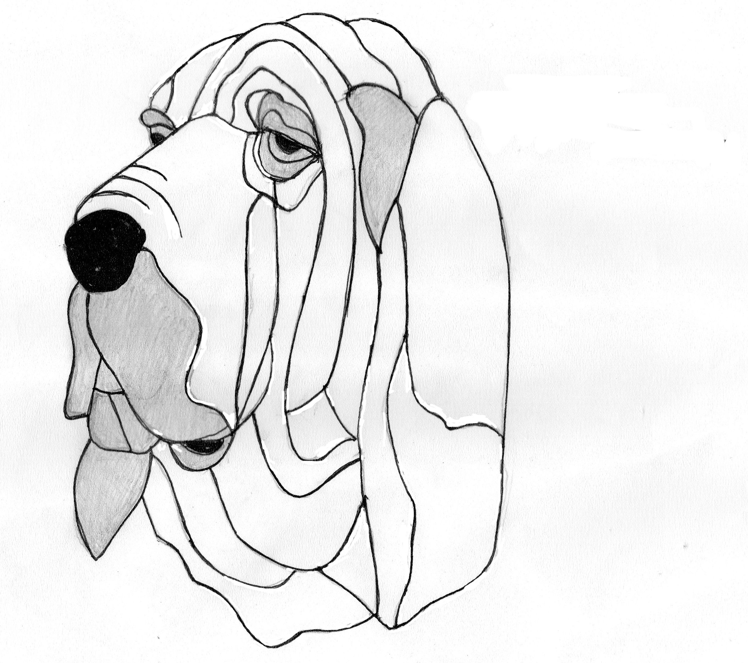 2449x2172 Bloodhound Stained Glass Pets Bloodhound, Patterns