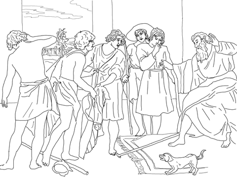 480x360 Joseph's Bloody Coat Brought To Jacob Coloring Page Joseph