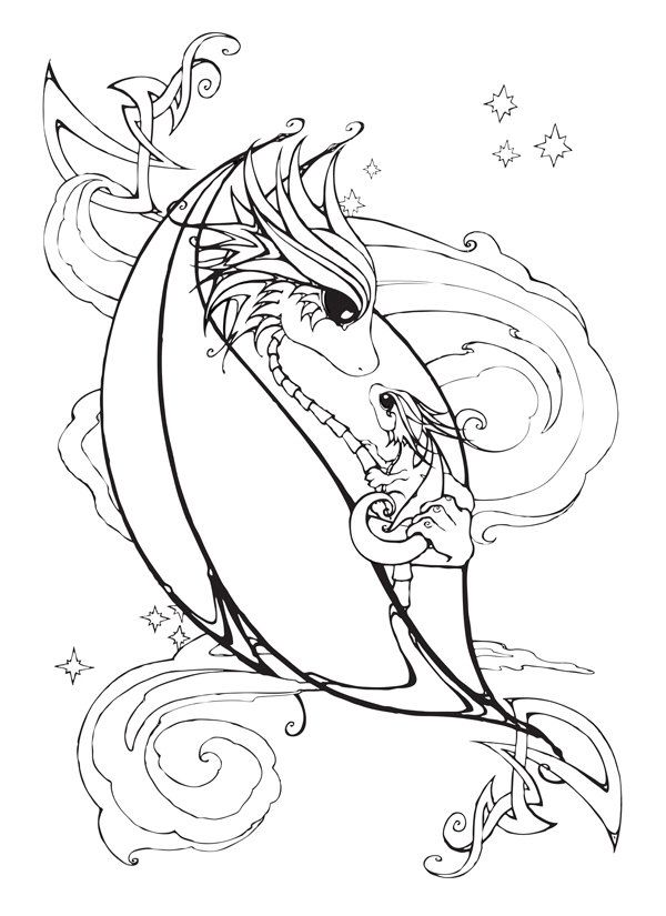 600x825 Mother And Baby Dragon Coloring Page Baby Dragon, Dragons And Etsy