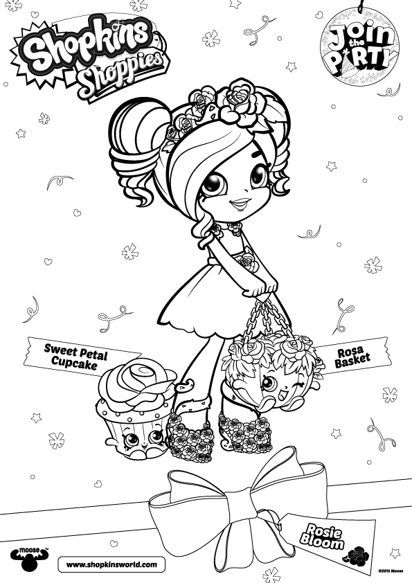 595x842 Join The Shopkins Party Coloring Rosie Bloom With Rosa Basket