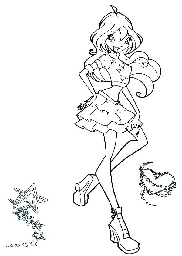 600x840 Club Printable Coloring Pages Winx Club Bloom Enchantix Coloring
