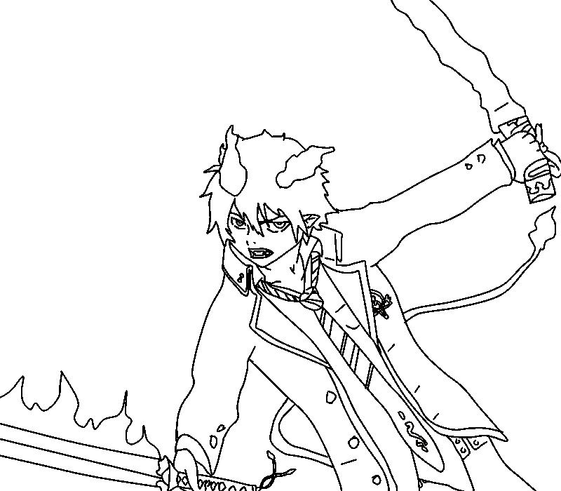 800x700 Ao No Exorcist Rin Okumura Lineart