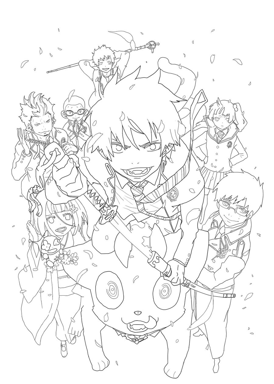 900x1260 Blue Exorcist Lineart
