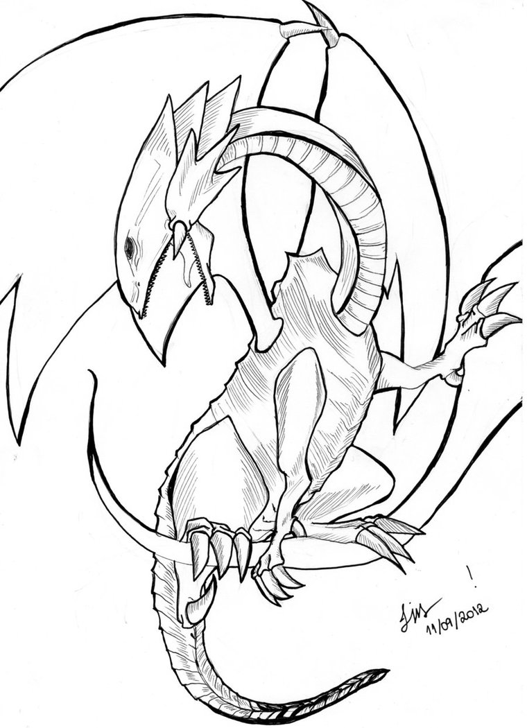 760x1050 Blue Eyes White Dragon Line Art