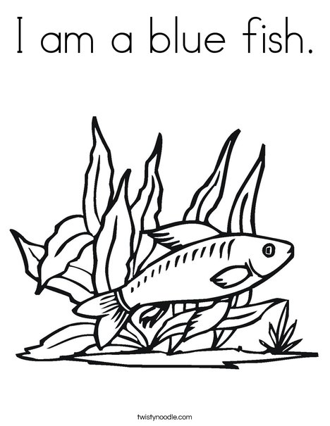 468x605 I Am A Blue Fish Coloring Page