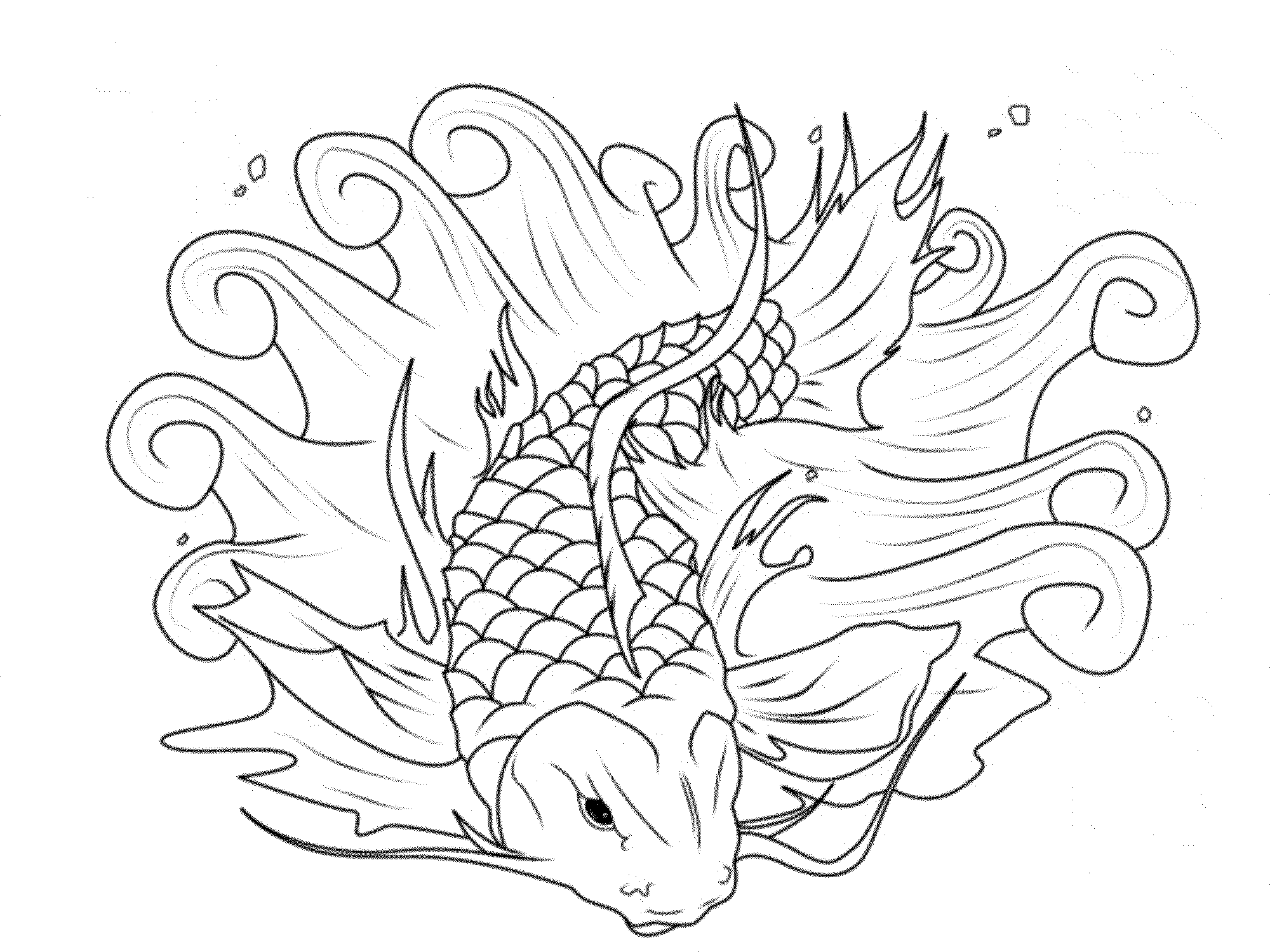 2000x1500 Koi Fish Coloring Page Printable Koi Fish And Red Fish