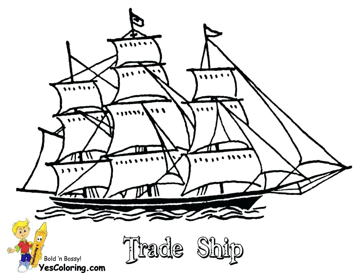 1200x927 Boat Coloring Sheet Simple Pages Printable Page Free Sheets Within