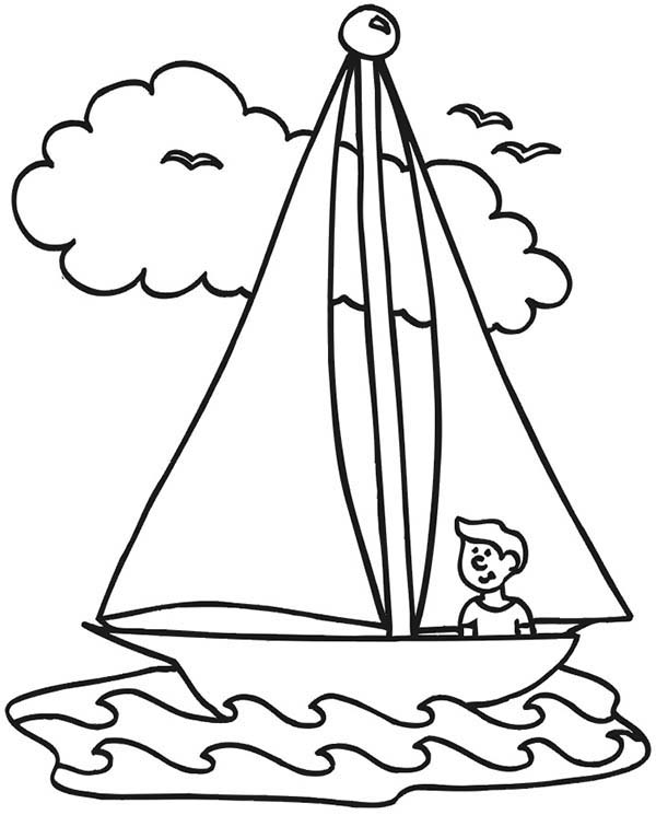 600x745 Boat Coloring Pages Sailboat With People