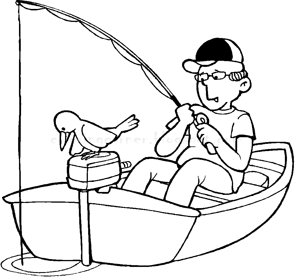 1024x961 Fisherman In A Boat Coloring Pages Printable