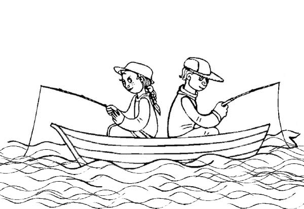 600x413 Summertime Fishing On Boat Coloring Page