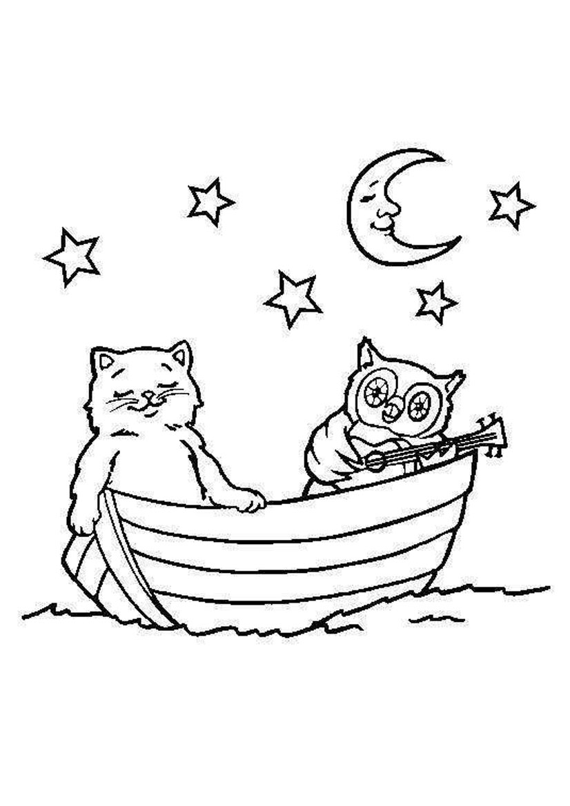 826x1169 Cat And Owl In The Boat Coloring Pages Free Coloring Pages