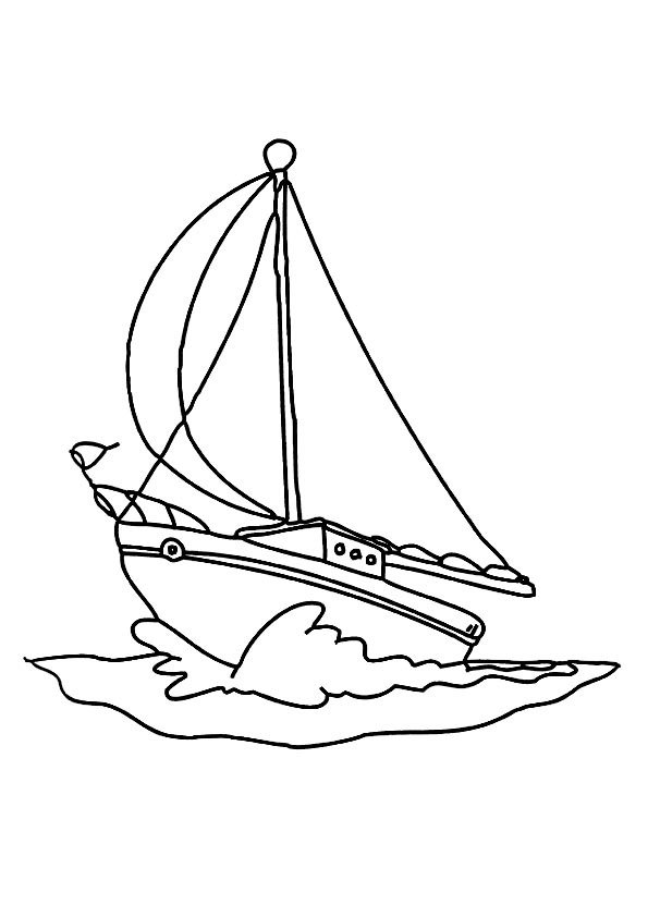 595x842 Drawn Yacht Colouring Page