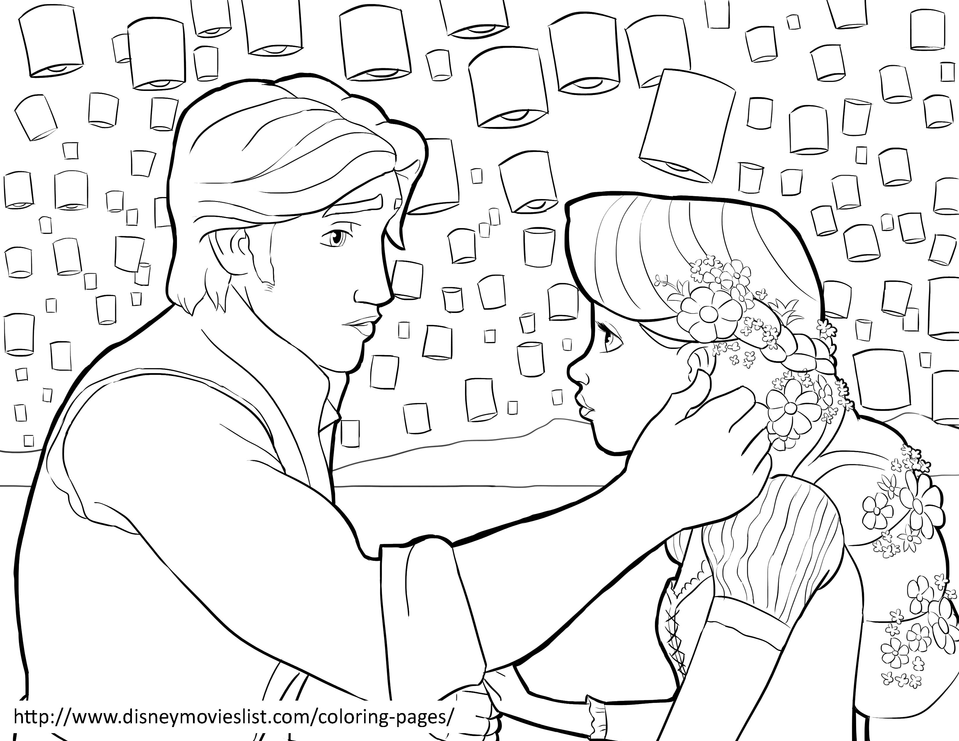 3300x2550 Beautiful Princess Rapunzel And Flynn On Boat Coloring Page Pages