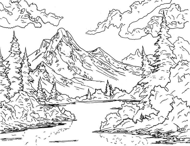 728x560 Get Crazy With The Official Bob Ross Coloring Book Bob Ross