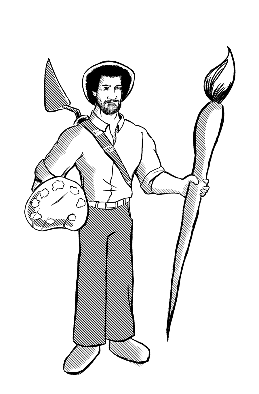 900x1370 Image Result For Bob Ross Coloring Sheet Bob Ross Happy Little