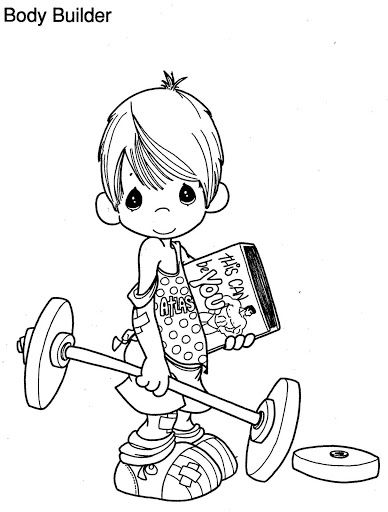 388x512 Body Builder Coloring Pages Coloring Pages {precious Moments