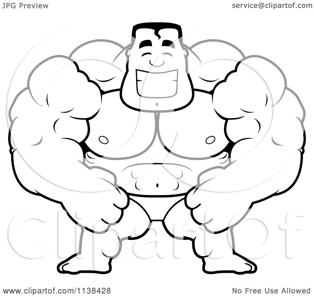 1080x1024 Cartoon Clipart Of An Outlined Beefy Bodybuilder