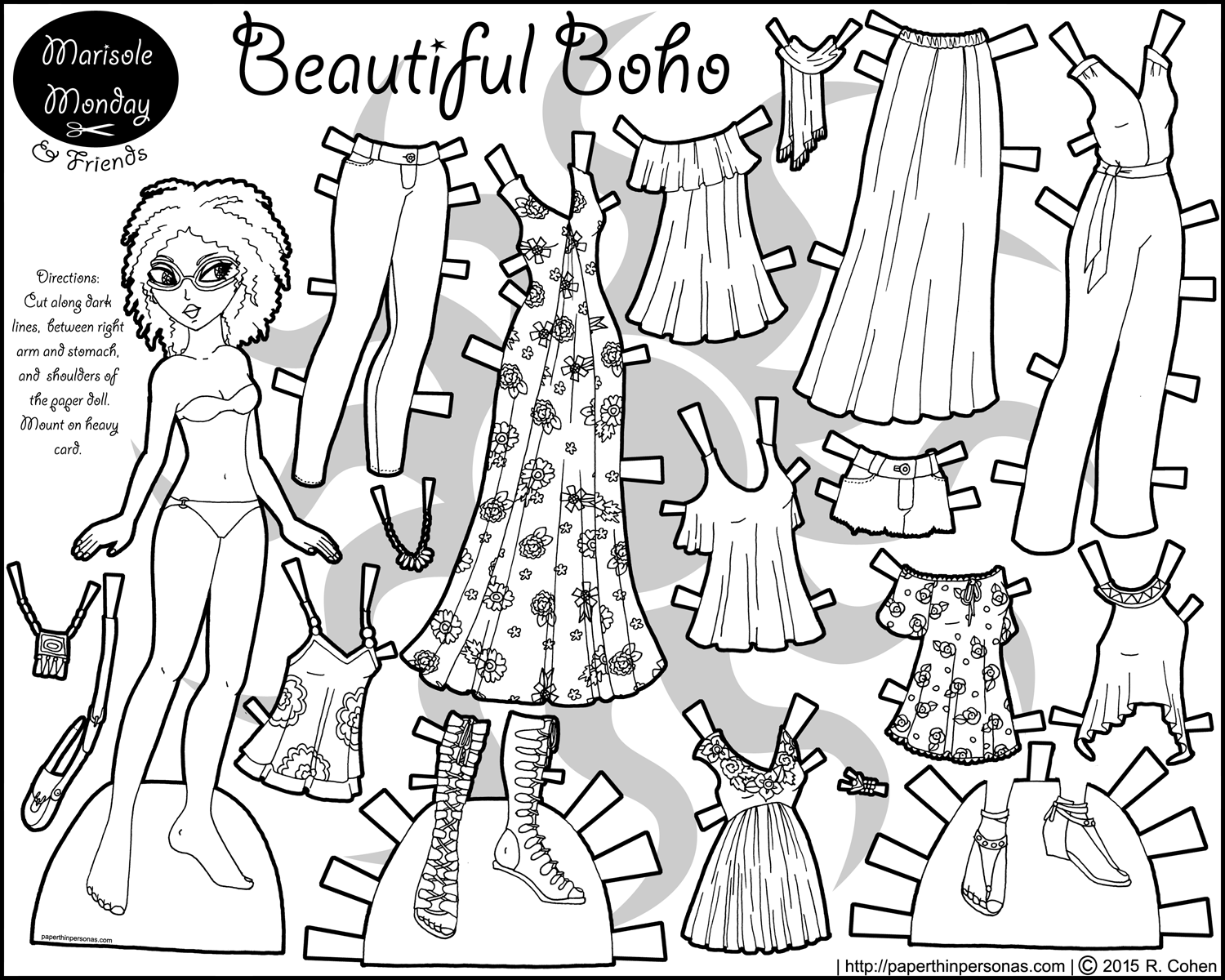 1500x1200 A Printable Coloring Page Of A Black Paper Doll With A Piece