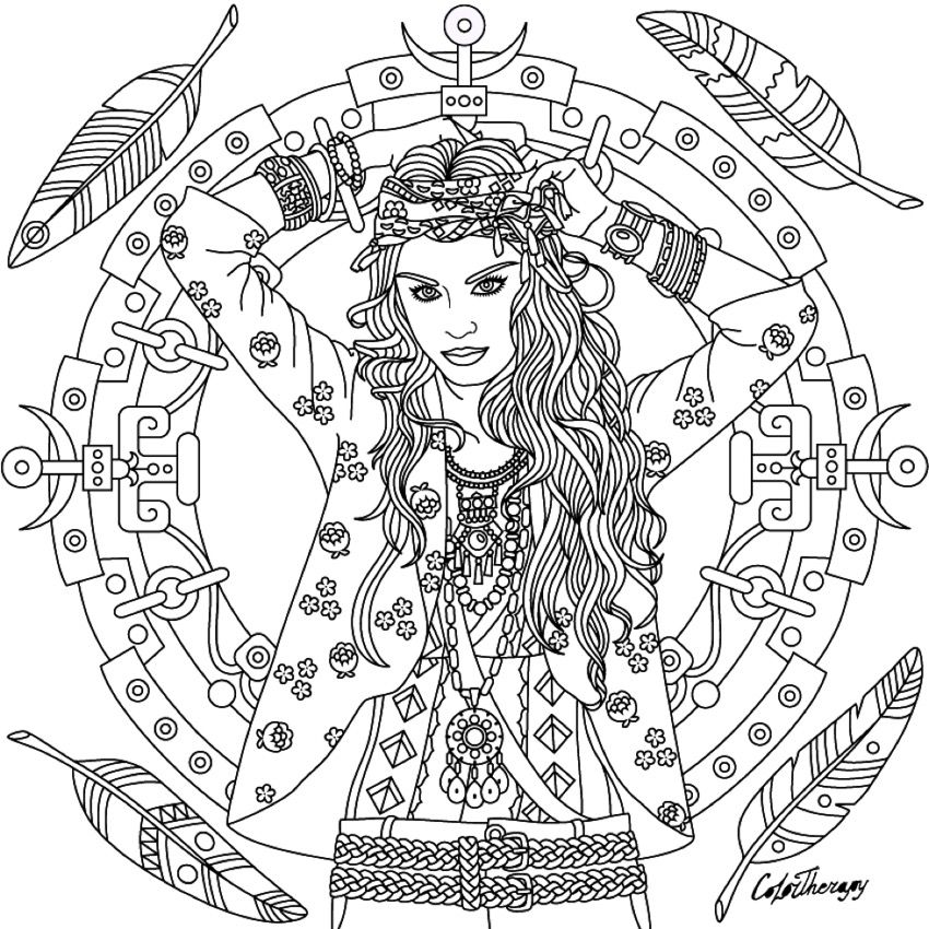 850x850 Boho Coloring Page Coloring Pages Boho, Adult