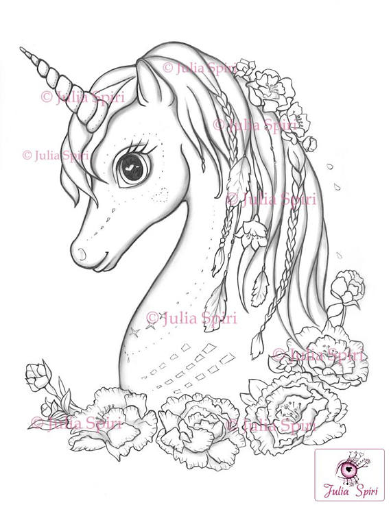 570x740 Coloring Pages Digital Stamp Digi Unicorn Boho Flowers