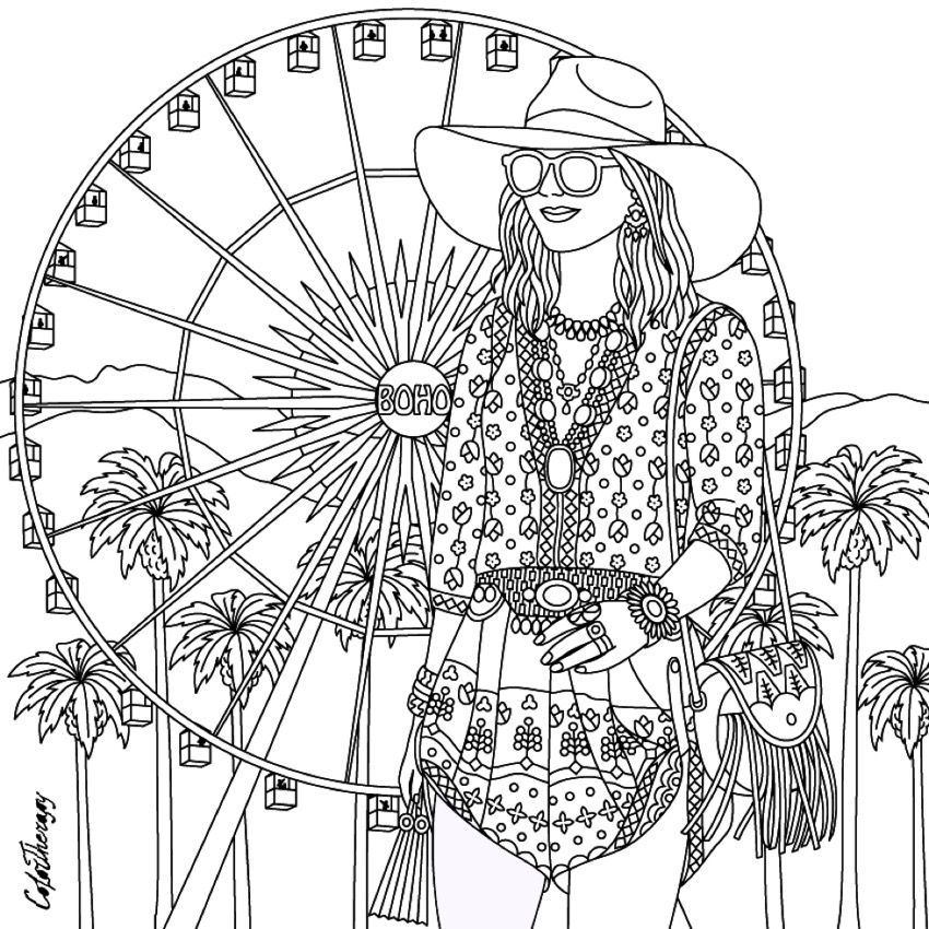 850x850 Gorgeous Hippie Boho Girl Coloring Page Hippie Art + Peace Signs