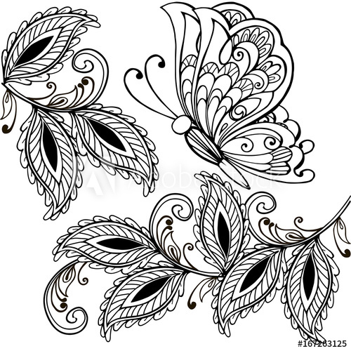 500x500 Hand Drawn Butterfly And Decorative Leaves Adult Anti Stress