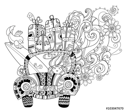 500x447 Hand Drawn Doodle Outline Holiday Car Travel Decorated