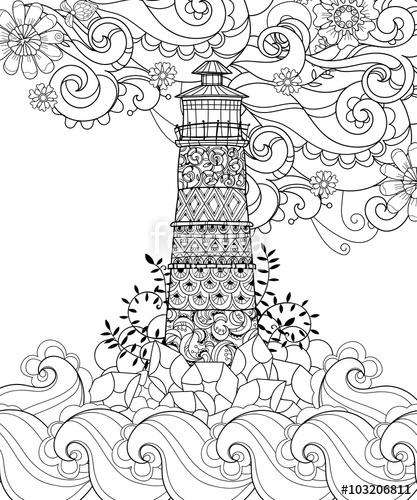 417x500 Hand Drawn Doodle Outline Lighthouse Decorated With Floral