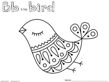 350x263 Boho Bird Coloring Page