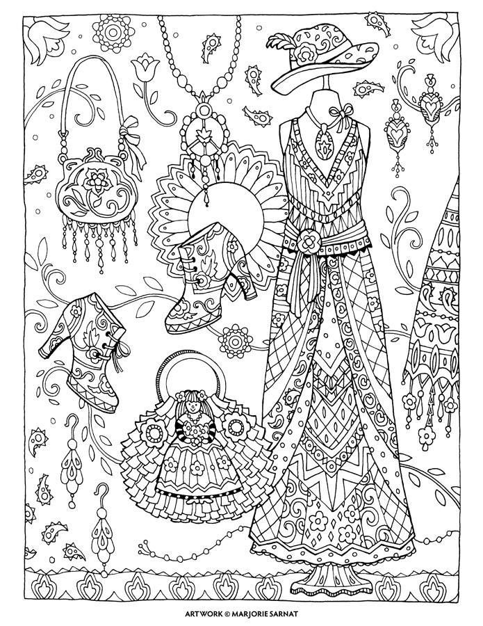 695x900 Boho Chic Fanciful Fashions Coloring Book I Margorie Sarnat