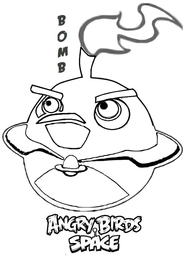 600x855 Angry Birds Bomb Coloring Pages Bird In Space Batch