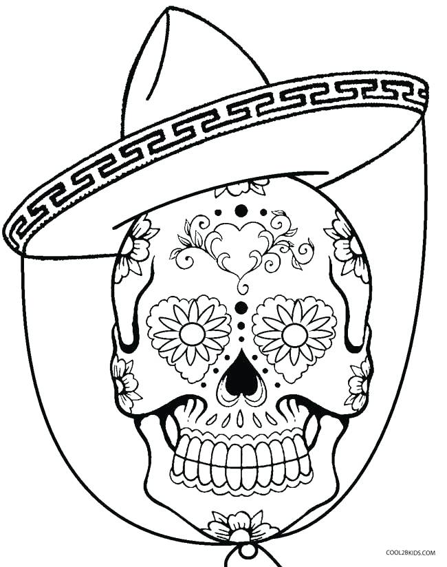 650x824 Skull Coloring Sheets Cinco De Mayo Skull Coloring Pages Skull