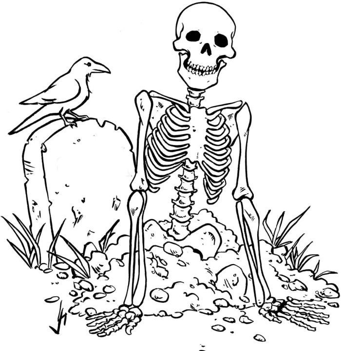 700x719 Zombie Skull Coloring Pages Skulls, Bones, Day Of The Dead