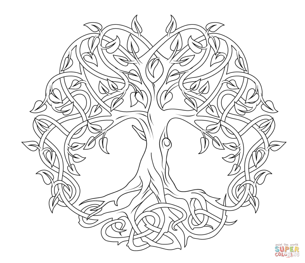 1024x881 Celtic Tree Of Life Coloring Page Free Printable Coloring Pages
