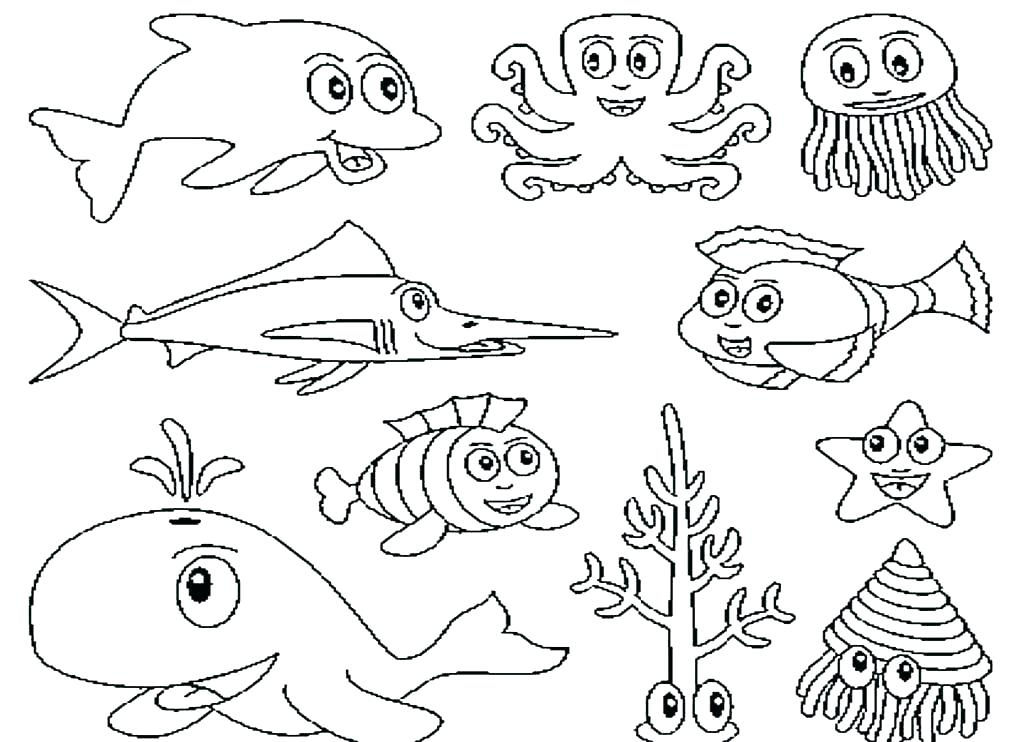 1024x742 Printable Ocean Pictures Ocean Life Coloring Pages Best Sea