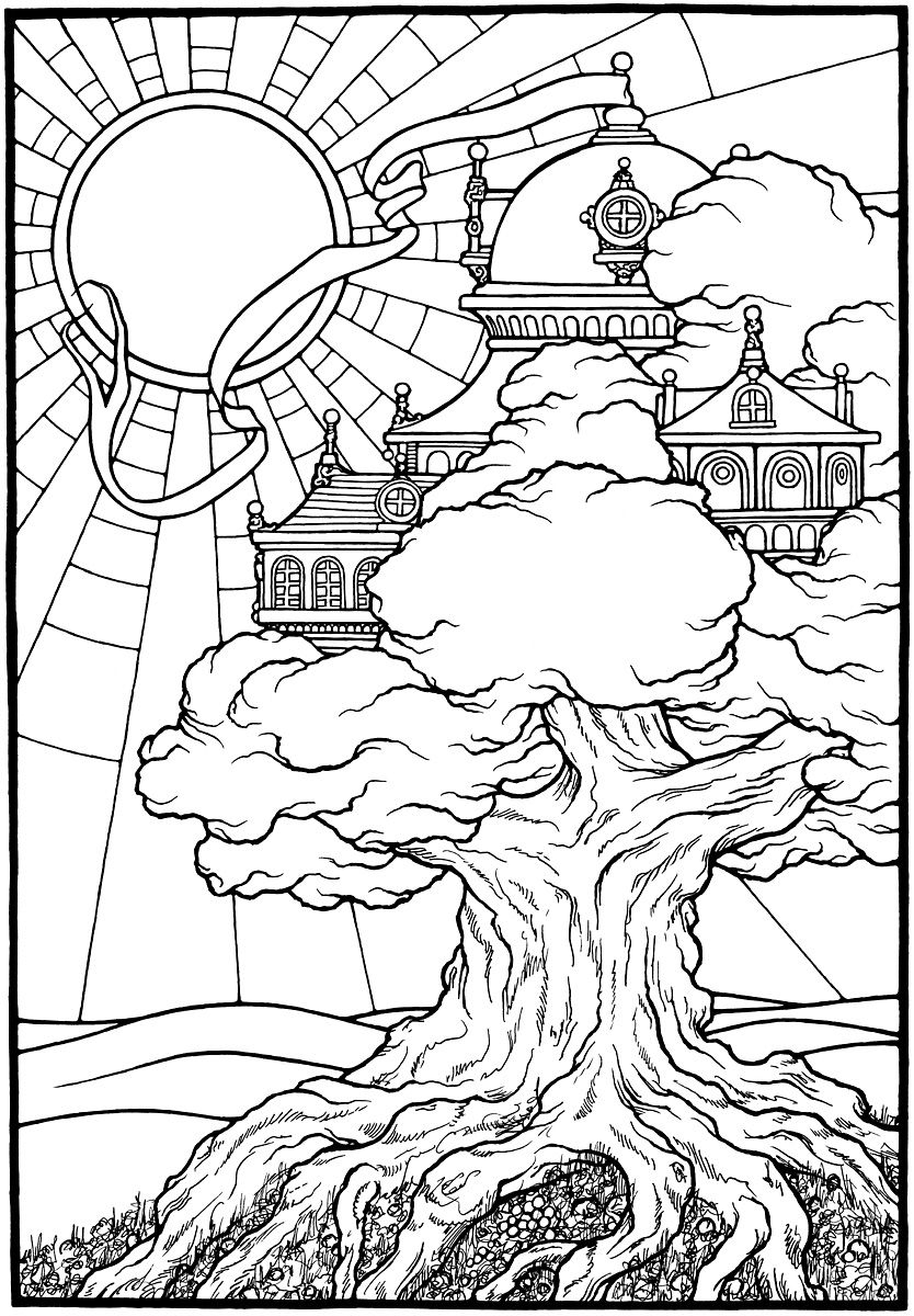 834x1200 Awesome Tree Castle From The Coloring Book Equinox
