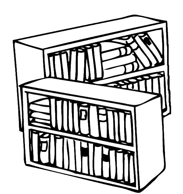 600x635 Library Bookshelf Coloring Pages Best Place To Color