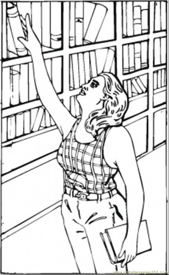 650x1058 Reaching For A Book Coloring Page