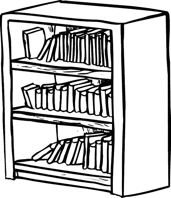 600x697 Bookshelf Coloring Pages Best Place To Color