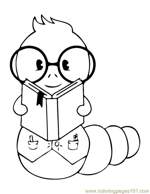 500x647 The Bookworm Coloring Page